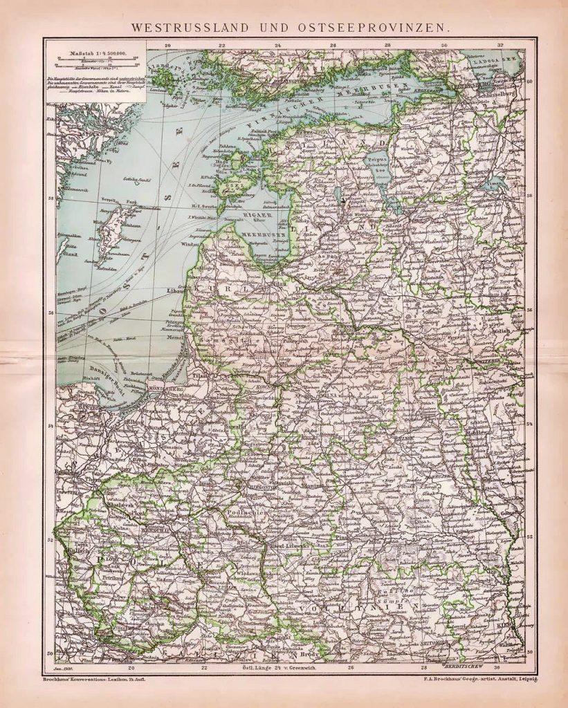 Карта Эстляндской, Курляндской и Лифляндской губерний, 1897 г.