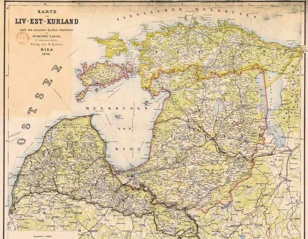 Карта Лифляндской, Эстляндской и Курляндской губерний, 1898 г.