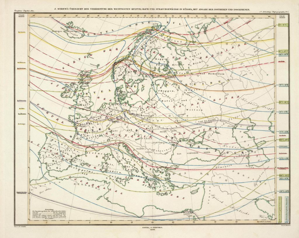 Карта распространении наиболее важных культурных, древесных и кустарниковых растений в Европе, 1848 г.