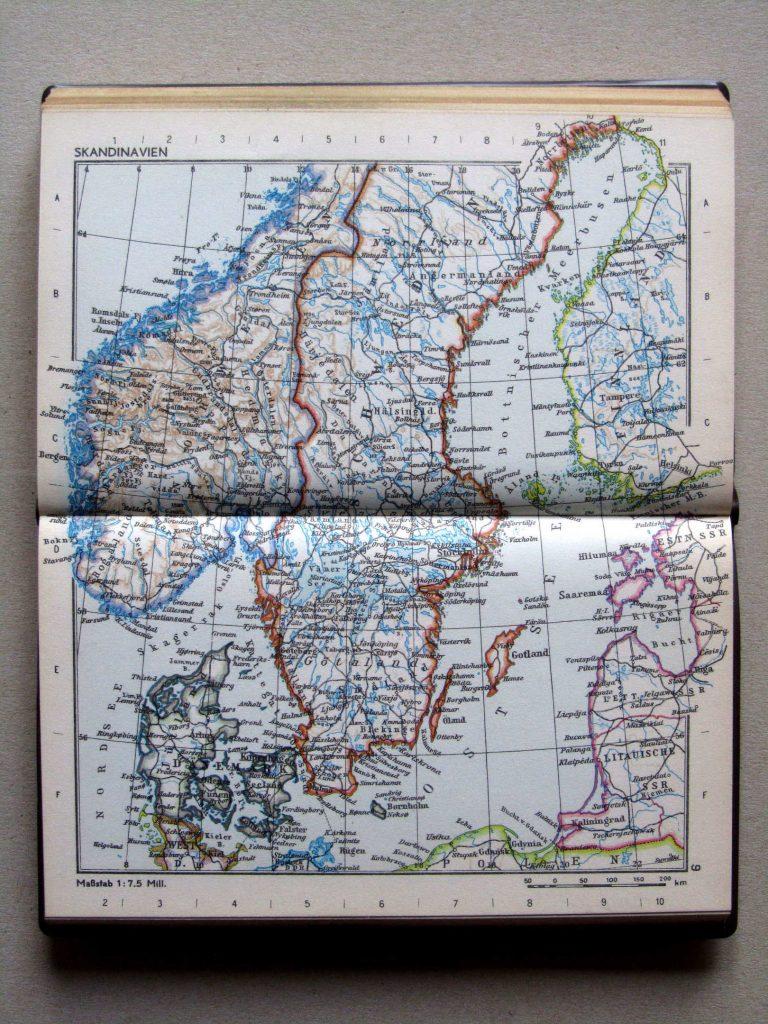 Карта Швеции, Норвегии, Дании, 1967 г.