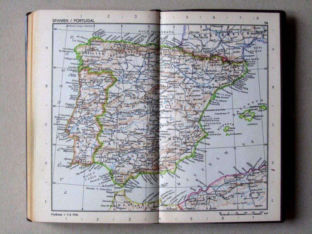 Карта Испании и Португалии, 1967 г.