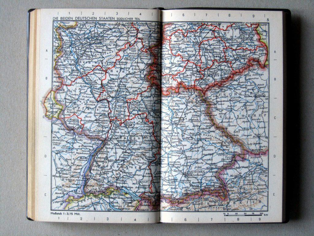 Карта Южной Германии, 1967 г.
