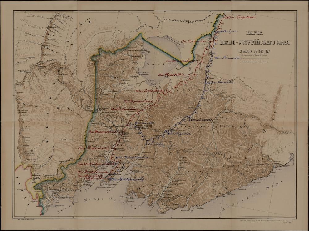 Карта Южно-Уссурийского края, 1883 г.
