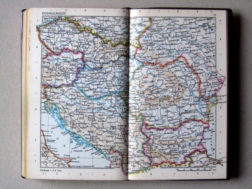Карта Югославии, Болгарии, Румынии, Венгрии, Чехословакии, 1967 г.