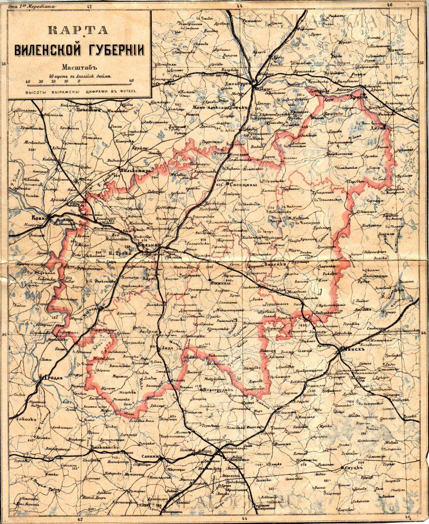 Карта Виленской губернии, 1897 г.