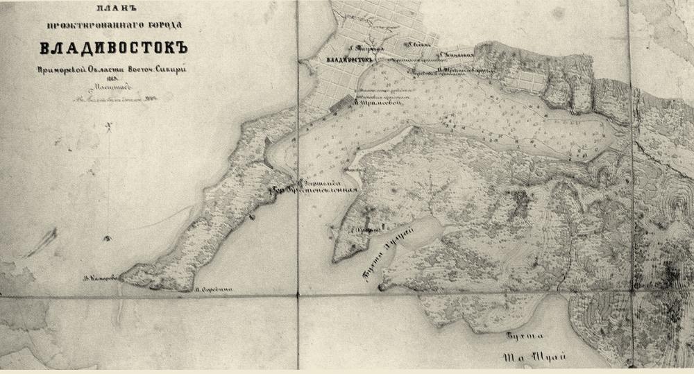 Проектный план Владивостока, 1869 г.
