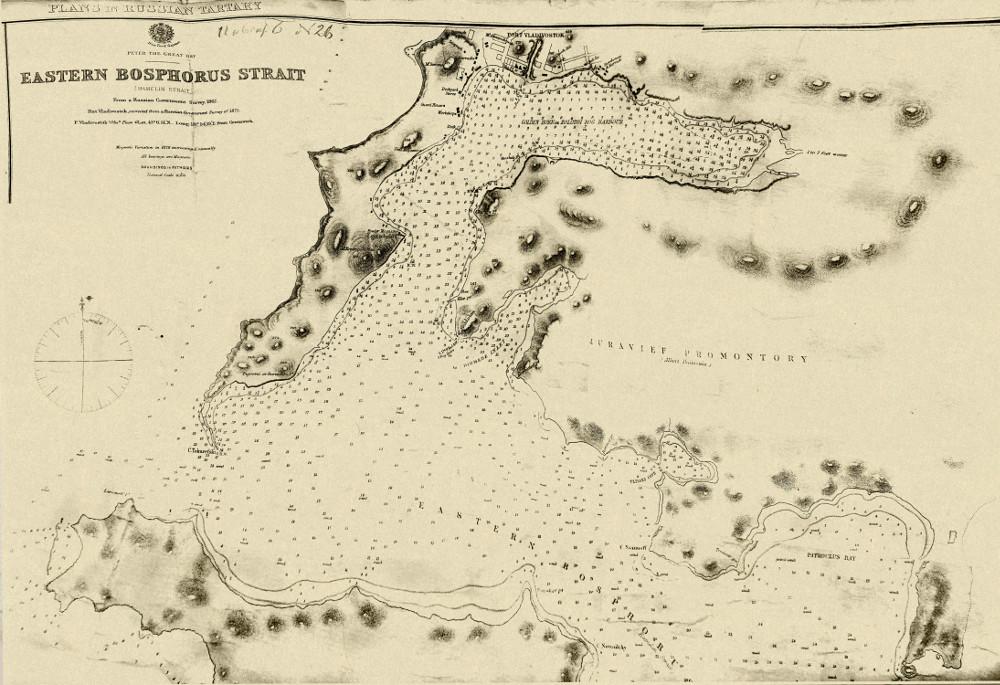 Карта пролива Босфор Восточный, 1875 г.