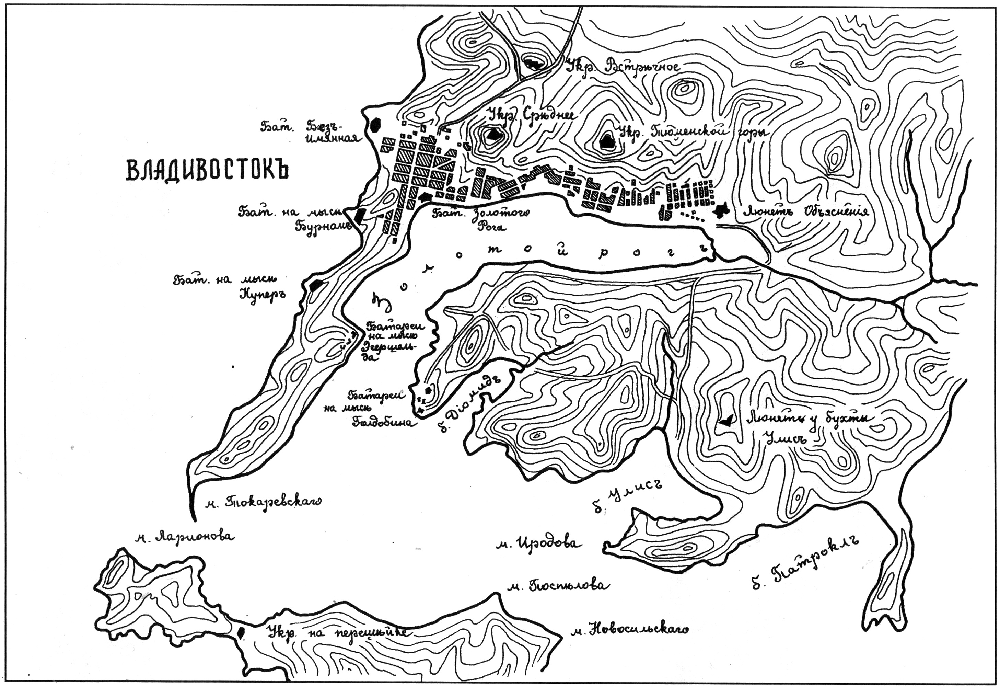Карта укреплений Владивостока, 1887 г.