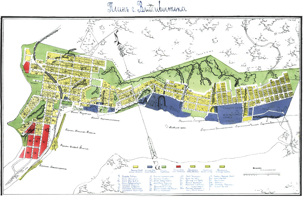 Карта крепости Владивостока Приморской области, 1900 г.