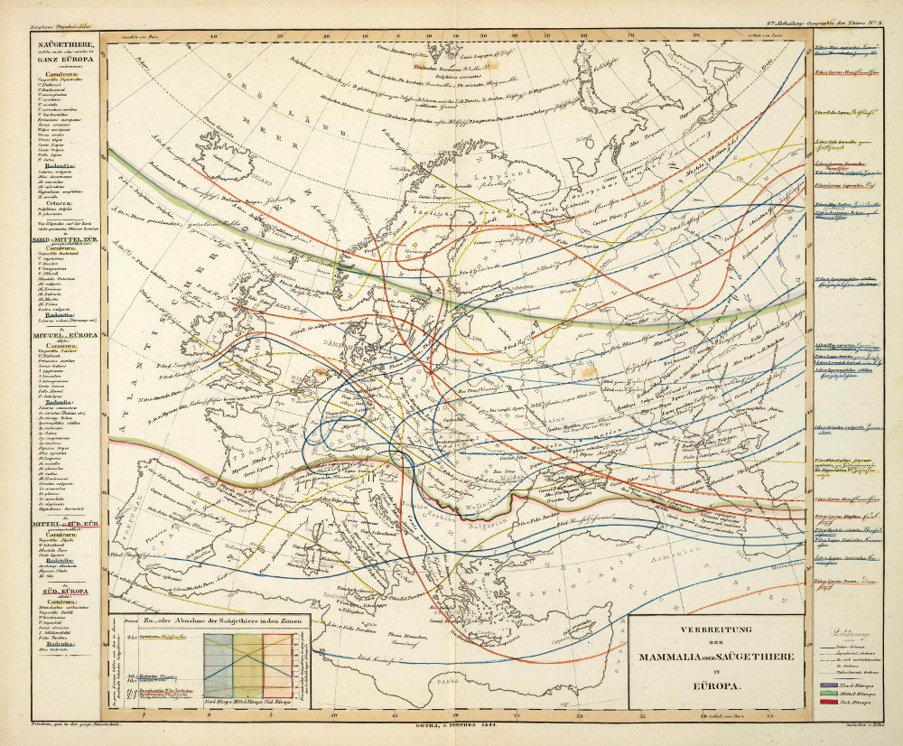 Карта распространения животных в Европе, 1844 г.