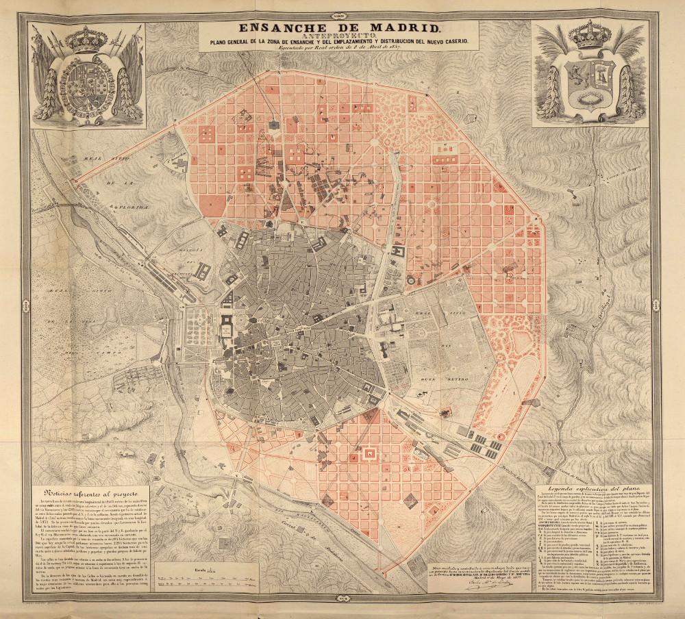 Карта Мадрида, 1861 г.