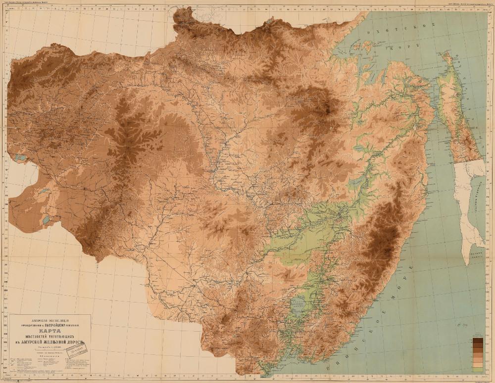 Карта местностей, тяготеющих к Амурской железной дороге, 1913 г.
