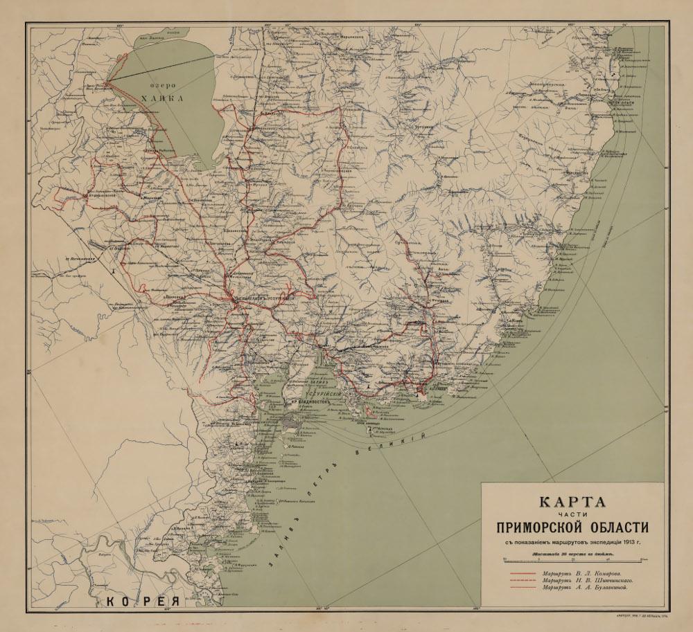 Карта южной части Приморской области, 1913 г.
