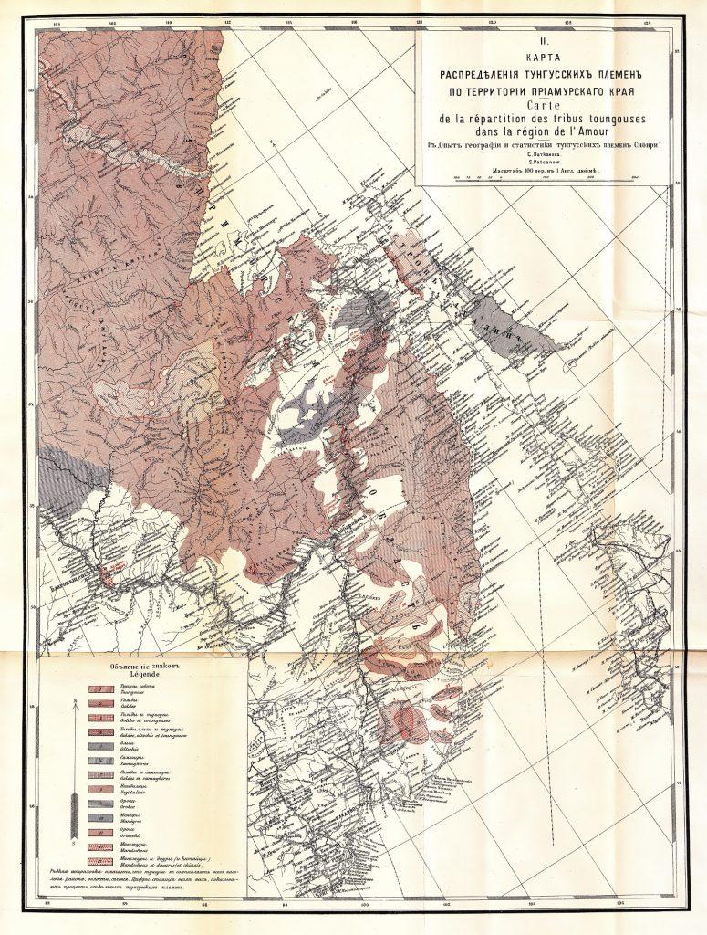 Карта распределения Тунгусских племен по территории Приамурского края, 1906 г.