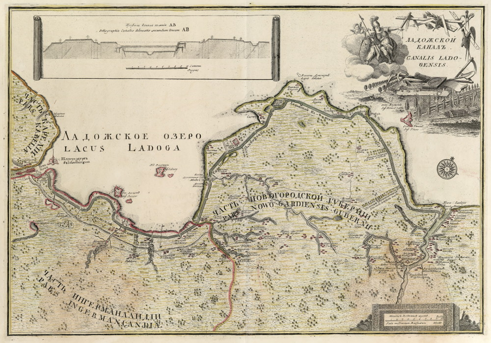 Карта Ладожского канала, 1741 г.