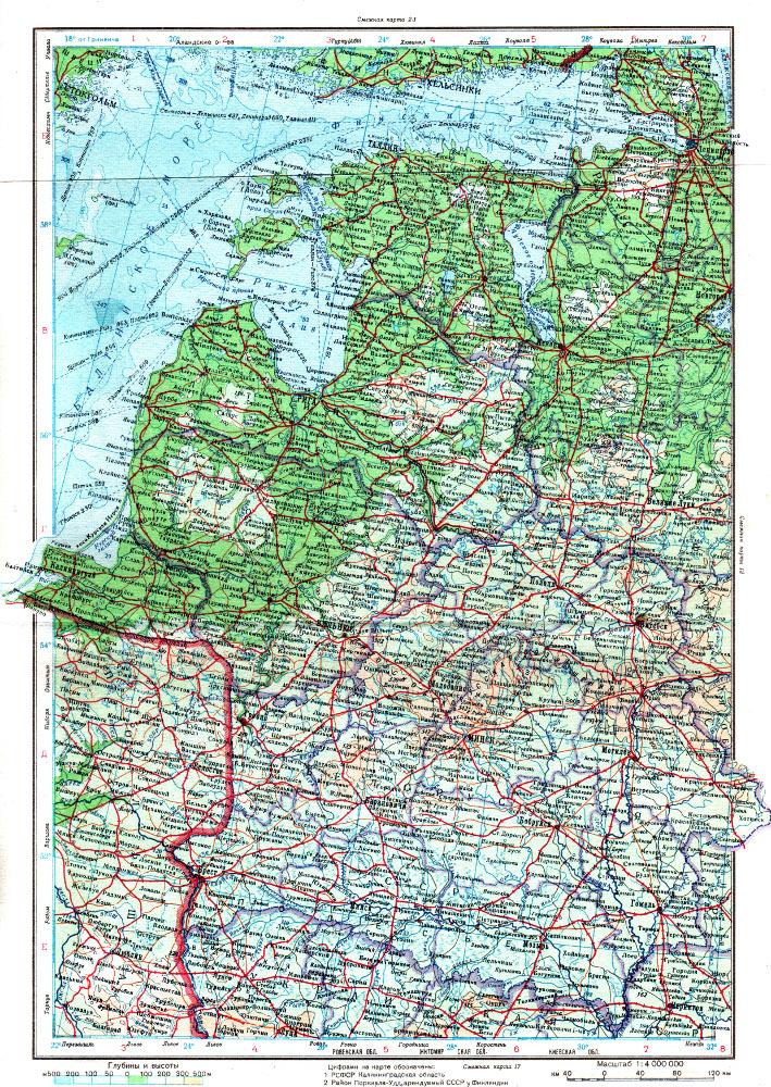Карта Прибалтики, 1947 г.