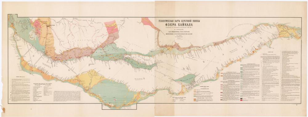Геологическая карта береговой полосы озера Байкала, 1880 г.