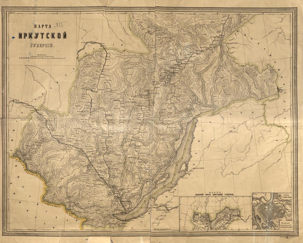 Иркутская губерния на обзорной карте 1905 года