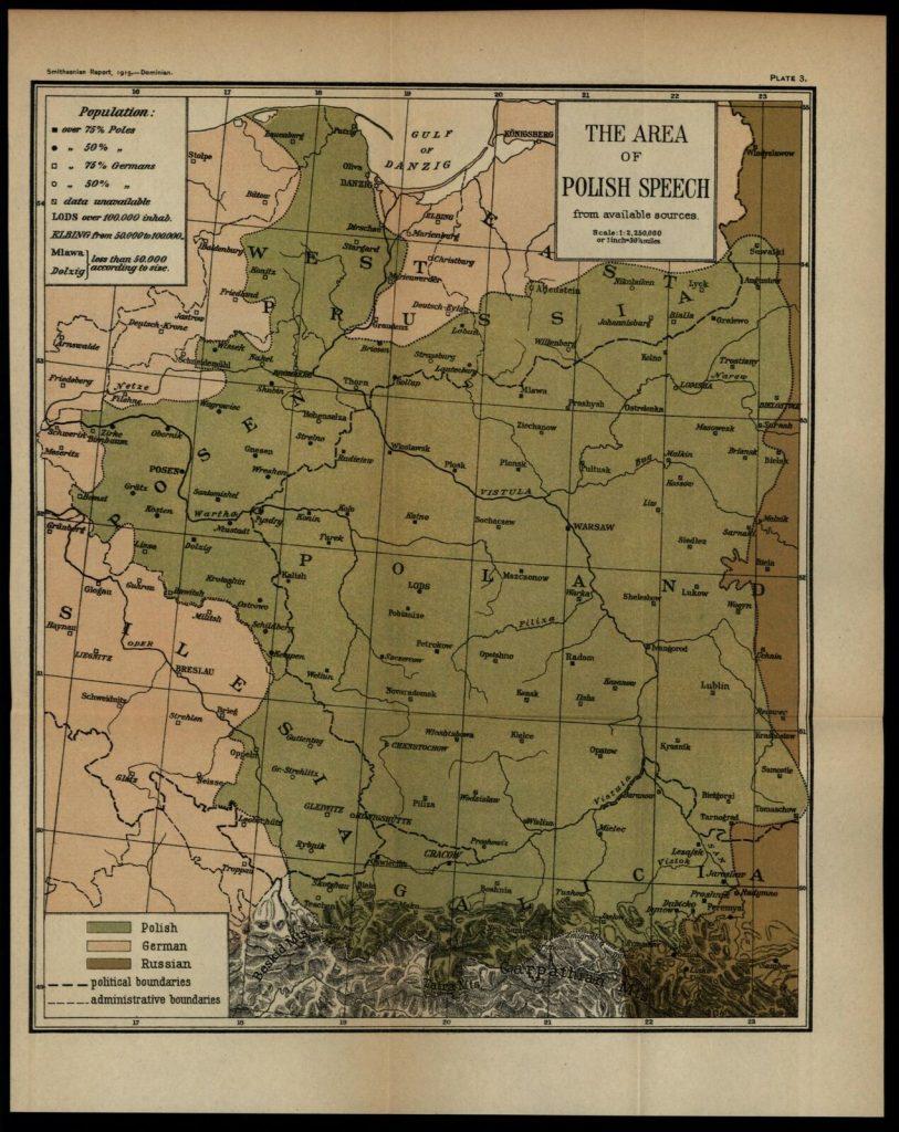 Карта территорий с преобладанием польского языка, 1915 г.
