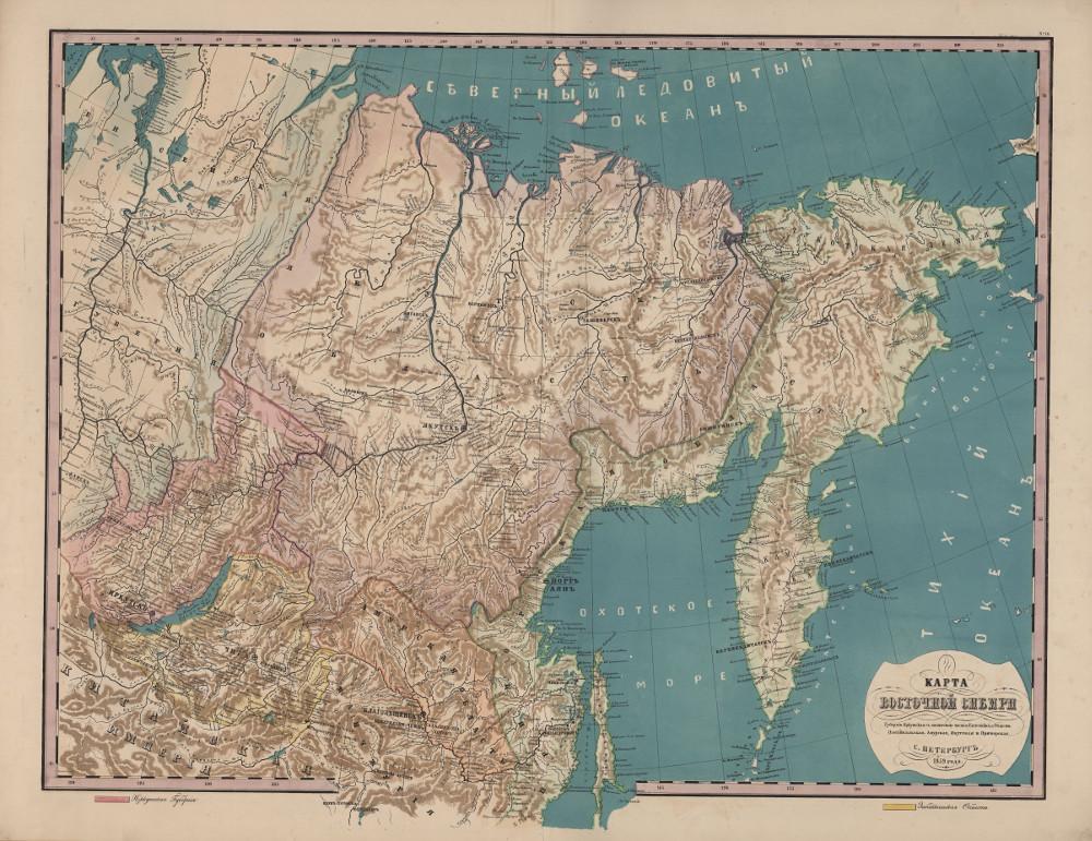 Карта восточной Сибири, 1859 г.