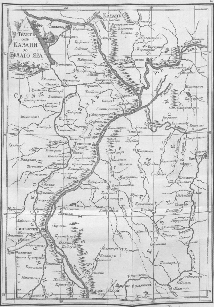 Карта от Казани до Белого Яра, 1767 г.