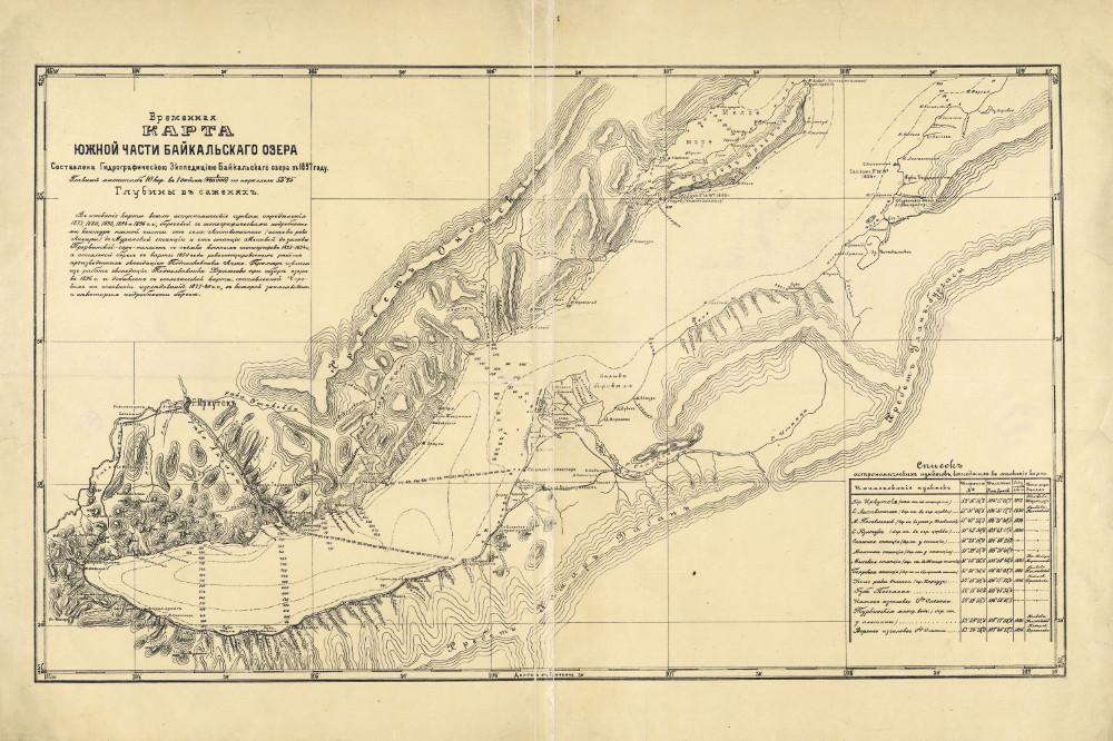 Карта южной части Байкала, 1897 г.