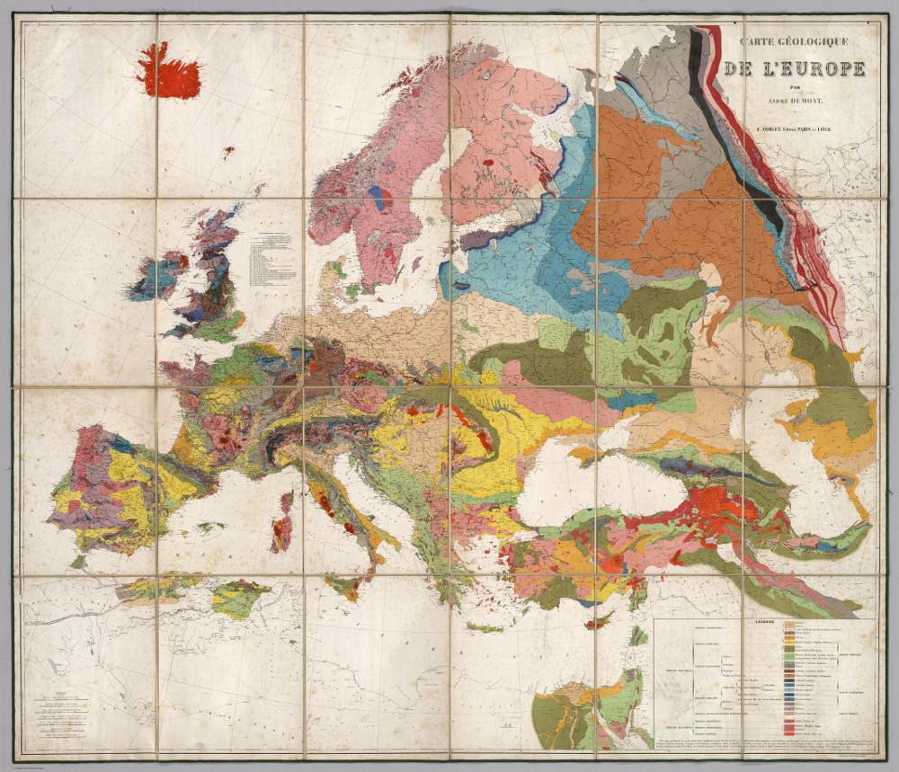 Геологическая карта Европы, 1875 г.