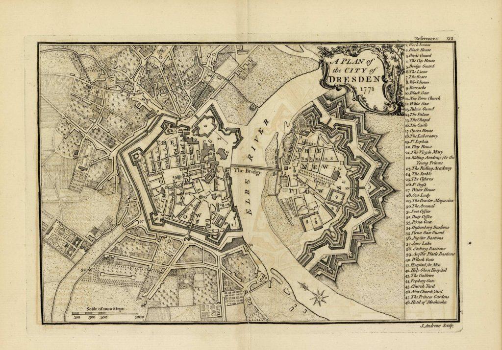 Карта Дрездена, 1771 г.