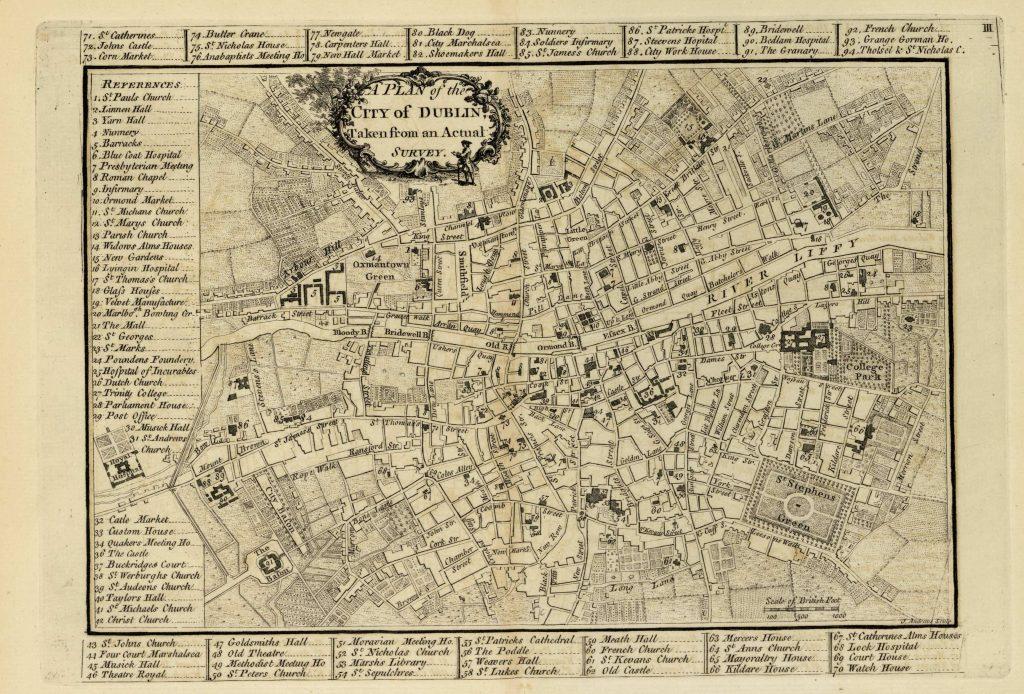Карта Дублина, 1771 г.