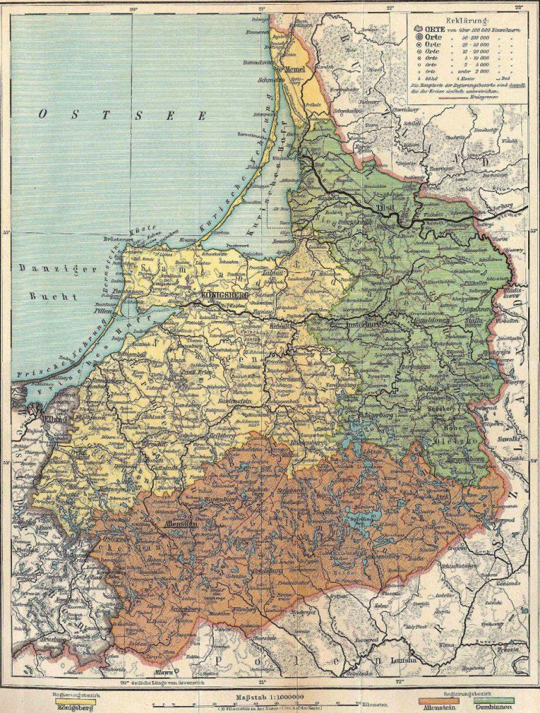 Административное деление Восточной Пруссии, 1917 г.