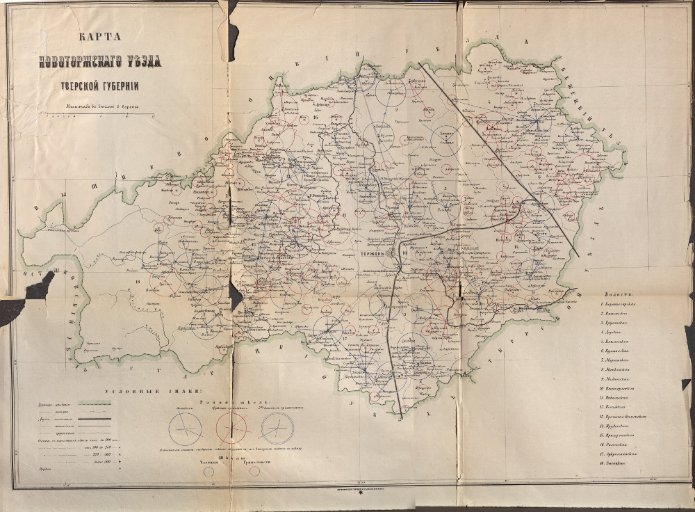 Карта Новоторжского уезда Тверской губернии, 1873 г.