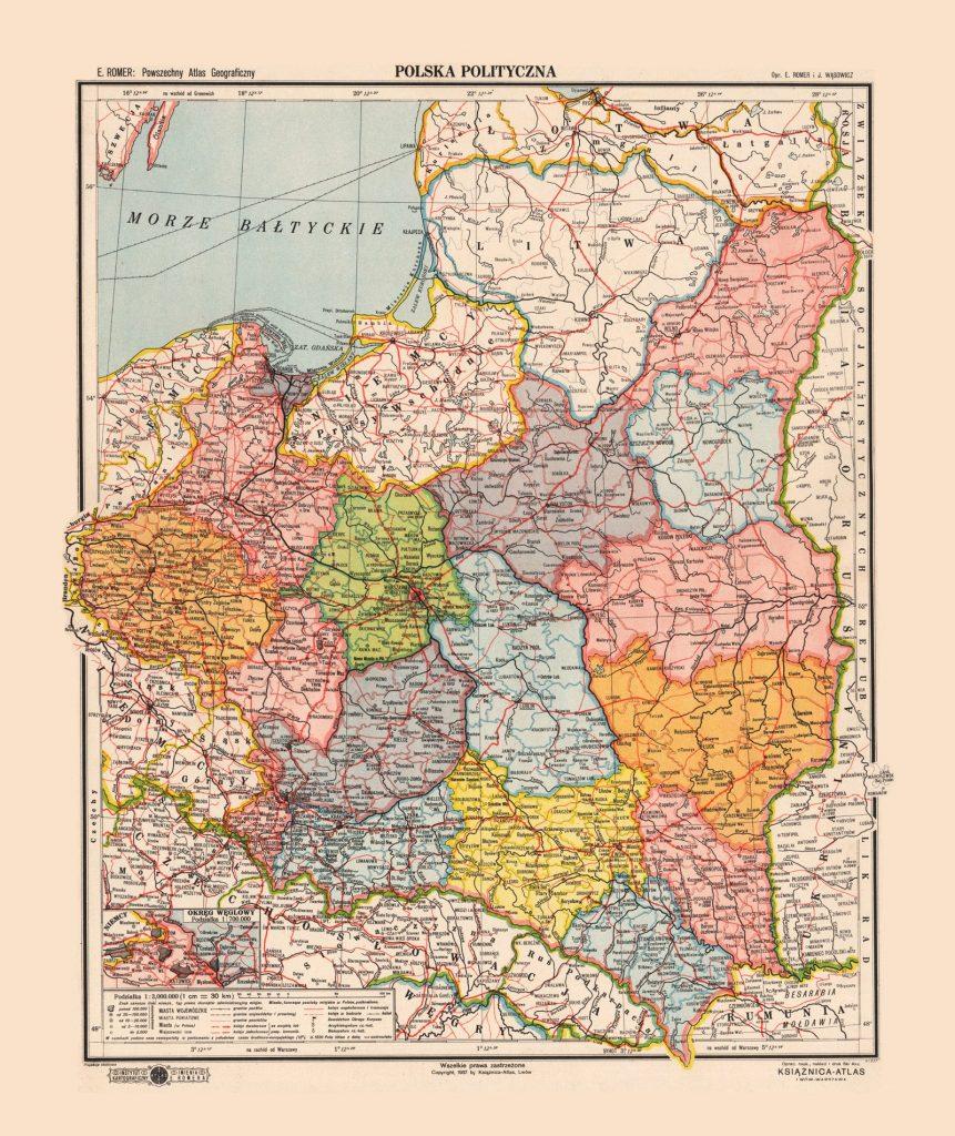Административная карта Польши, 1938 г.