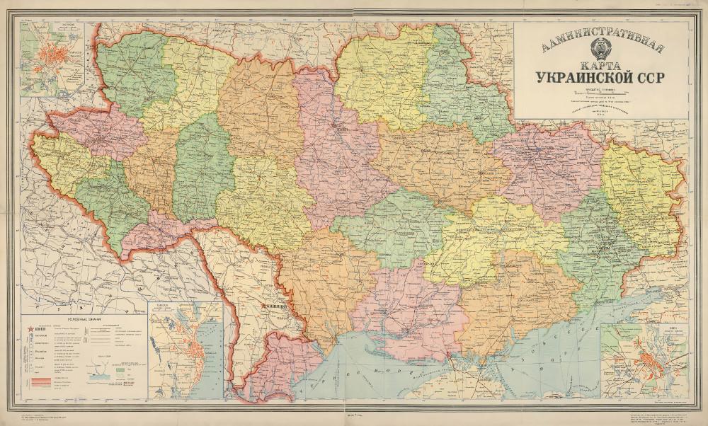 Административная карта Украинской ССР, 1940 г.