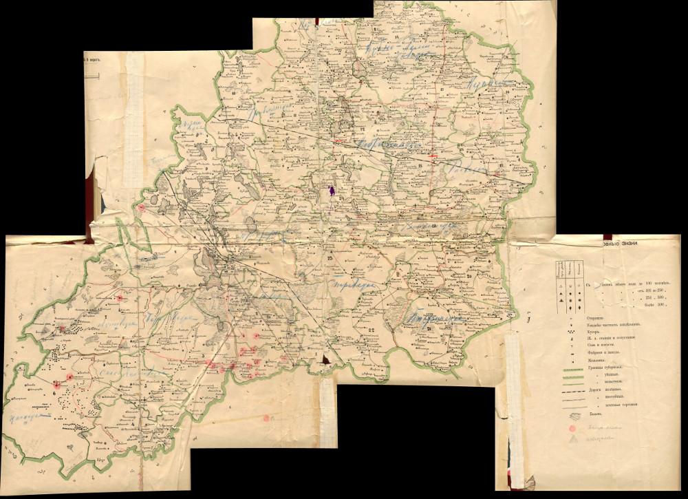 Карта Вышневолоцкого уезда Тверской губернии, 1886-1890 гг.