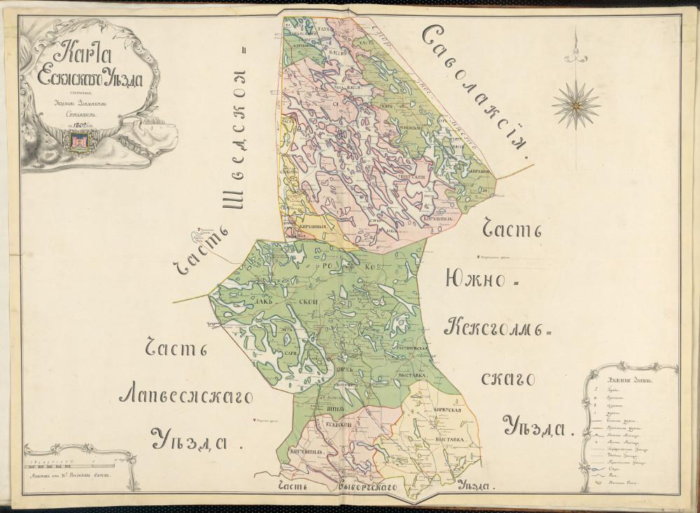 Карта Яскисского уезда, 1802 г.