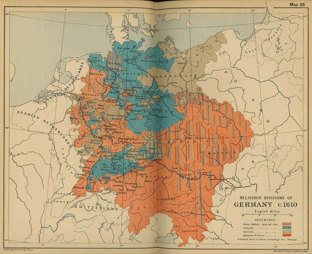 Религиозная карта Германии, 1610 г.