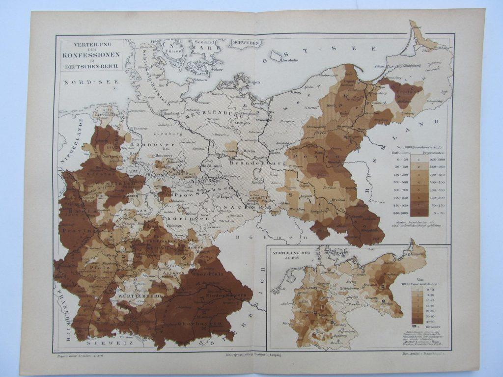 Религиозная карта Германии, 1889 г.