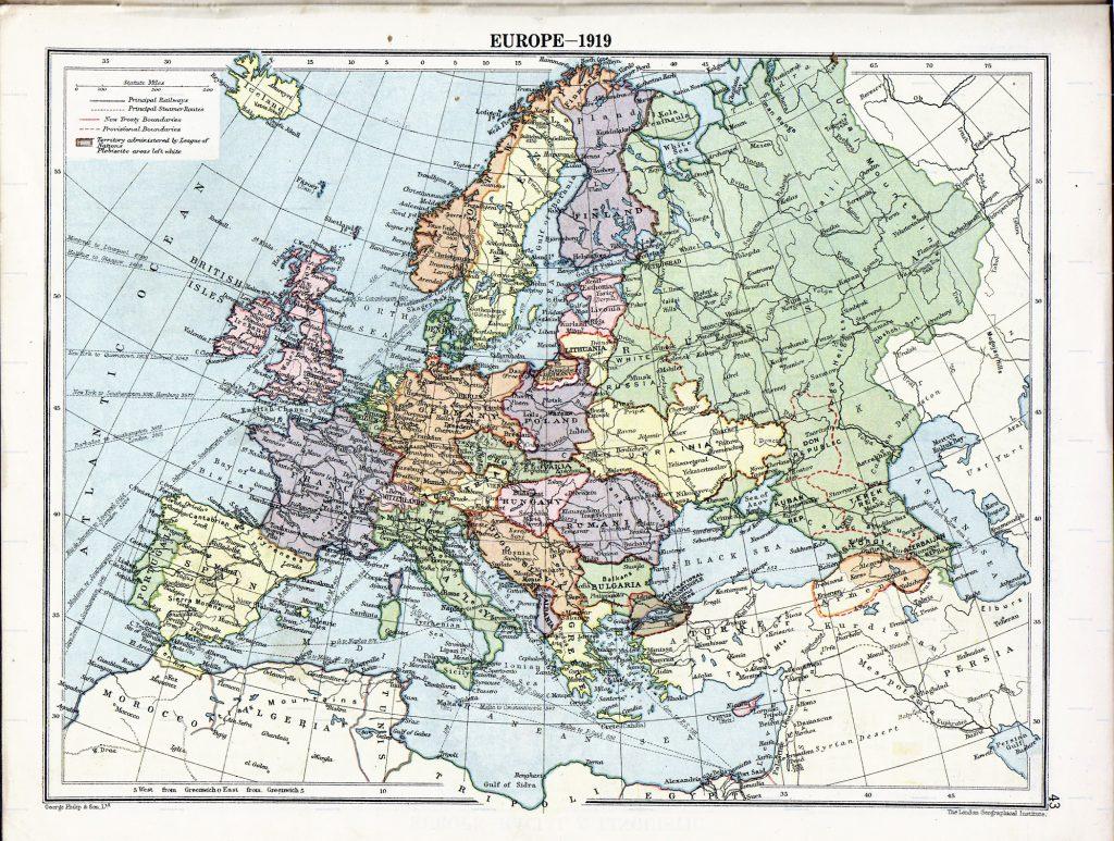Карта Европы, 1919 г.