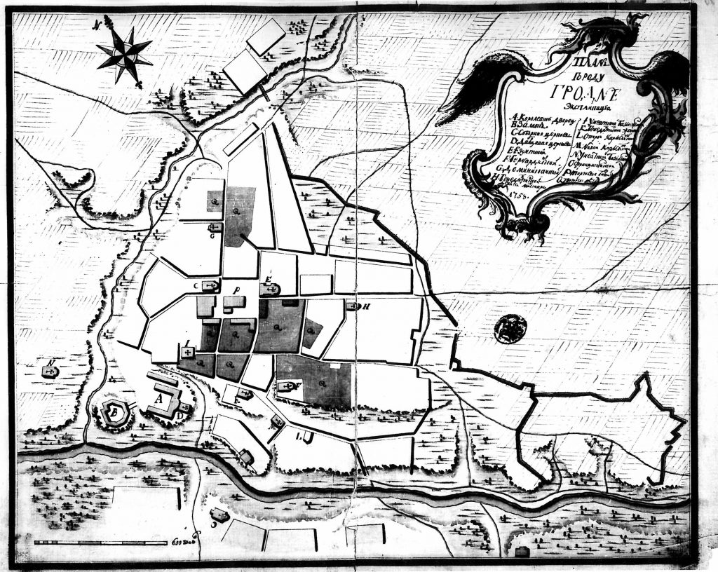 Карта Гродно, 1758 г.
