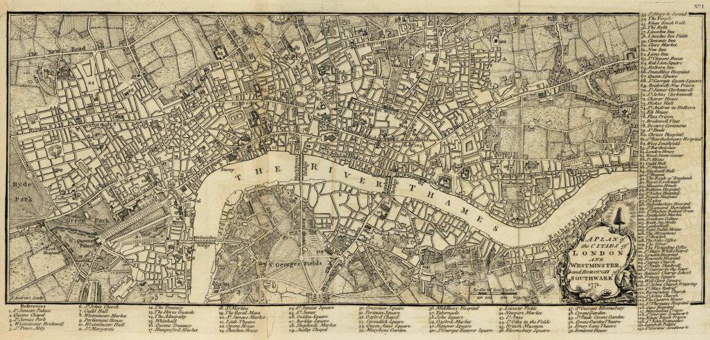 Карта Лондона, 1771 г.