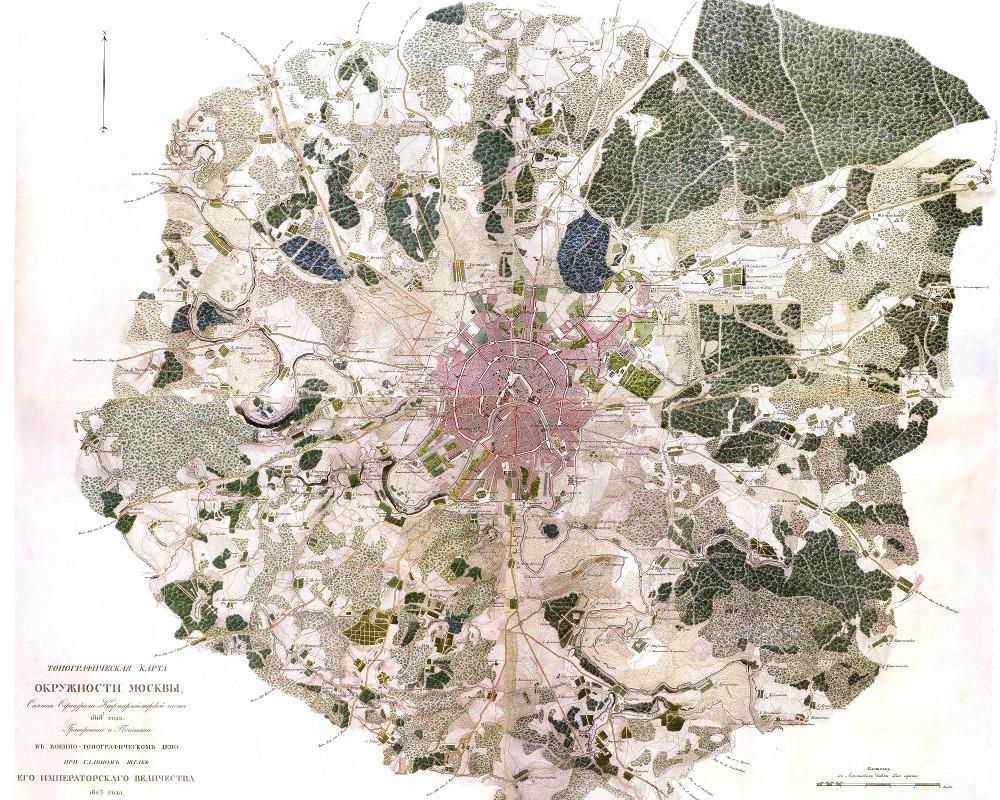 Карта окрестностей Москвы, 1818 г.