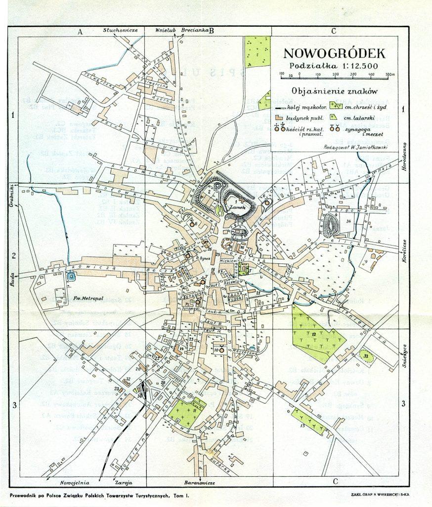Карта города Новогрудок, 1935 г.