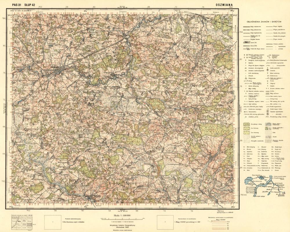 Карта окрестностей города Ошмяны, 1935 г.