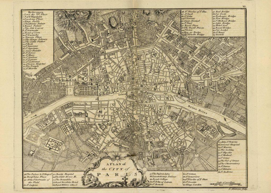 Карта Парижа, 1771 г.