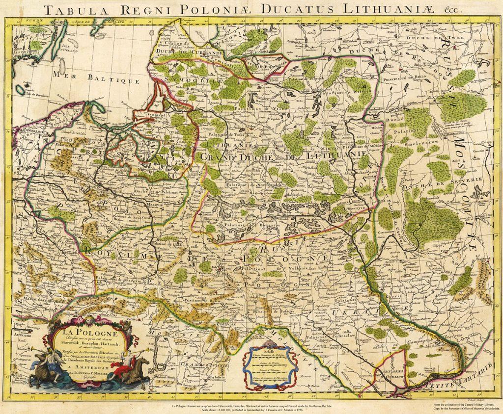 Карта Польши, 1736 г.