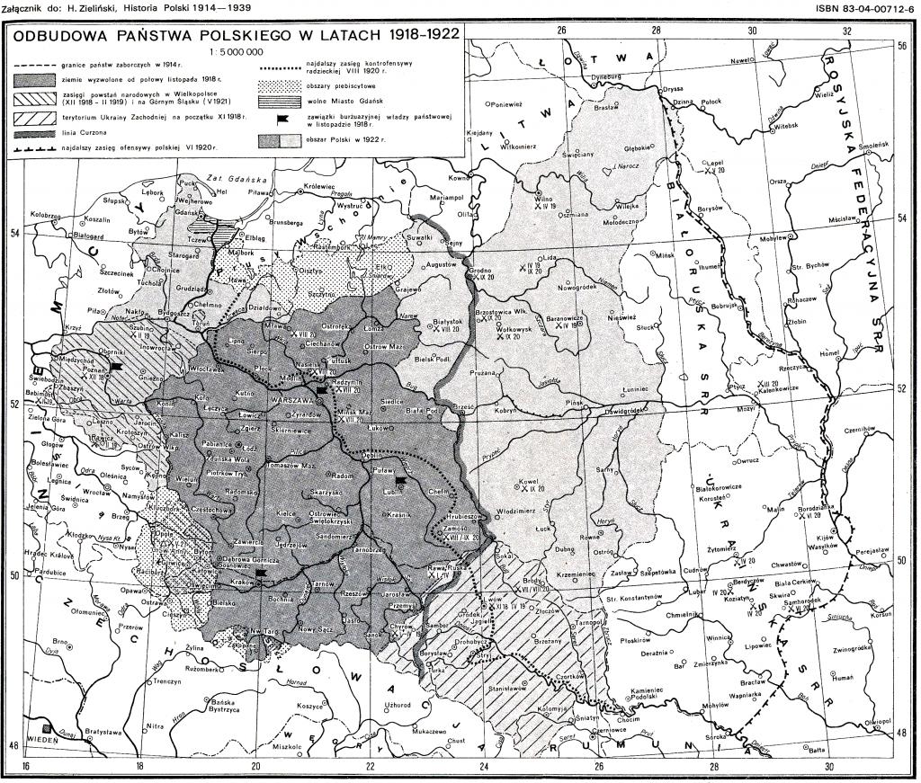 Карта расширения границ Польши в первой половине XX века