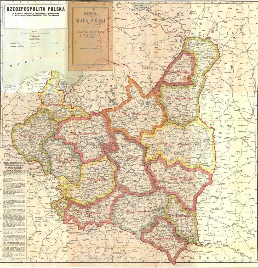Административная карта Польши, 1923 г.