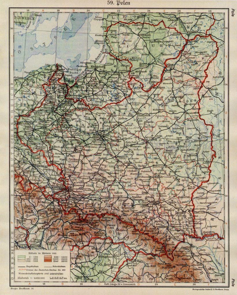 Физическая карта Польши, 1938 г.