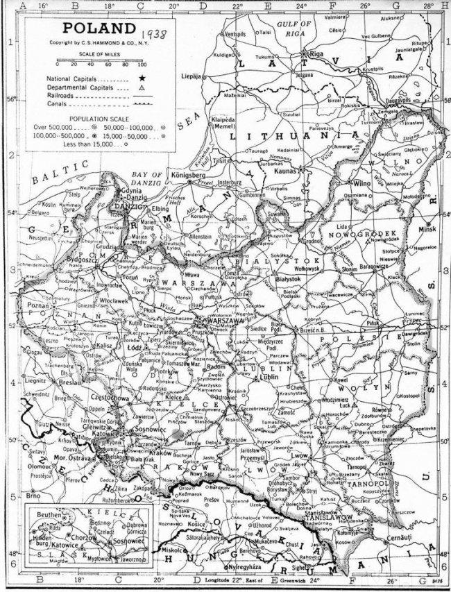 Карта Польши, 1938 г.