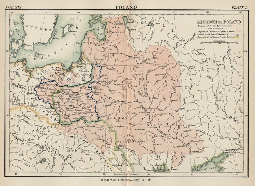 Карта Польши, начала XIX века